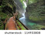 river in green forest in canyon ... | Shutterstock . vector #114933808