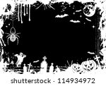 grunge halloween frame with... | Shutterstock . vector #114934972
