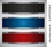 banners  metallic set  modern... | Shutterstock .eps vector #114935362