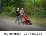 couple exercising and jogging... | Shutterstock . vector #1149361838