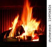 fire in a fireplace. fire... | Shutterstock . vector #114936826