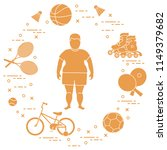 fat boy  badminton rackets and... | Shutterstock .eps vector #1149379682