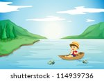 illustration of a boy rowing in ...