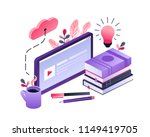Vector concept for online education. Flat 3d isometric design. Online training courses, retraining, specialization, tutorials. Can be used for web design, banners, promotional materials etc.