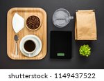 overhead view of roasted beans... | Shutterstock . vector #1149437522