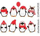 Christmas Penguins In White...