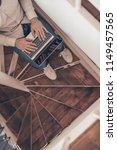 working businessman with laptop ... | Shutterstock . vector #1149457565