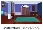 dark corridor with open door...   Shutterstock .eps vector #1149478778