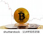 bitcoin btc on stack of... | Shutterstock . vector #1149505358