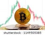 bitcoin btc on stack of... | Shutterstock . vector #1149505385