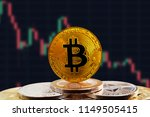 bitcoin btc on stack of... | Shutterstock . vector #1149505415