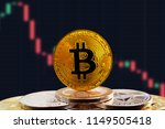 bitcoin btc on stack of... | Shutterstock . vector #1149505418