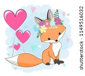 cute red fox in a flower wreath.... | Shutterstock .eps vector #1149516032
