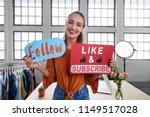 female vlogger asking online... | Shutterstock . vector #1149517028