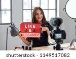 female vlogger asking online... | Shutterstock . vector #1149517082