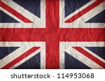 union jack on crumpled paper... | Shutterstock . vector #114953068