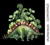 watercolor stegosaurus with...   Shutterstock . vector #1149559415