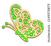 jewelry gold butterfly in gems. ... | Shutterstock . vector #1149570875