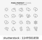 thin line icons set of weather. ...