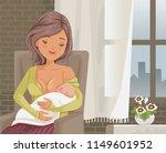 mother holding her newborn... | Shutterstock .eps vector #1149601952
