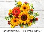 beautiful autumn flowers and... | Shutterstock . vector #1149614342