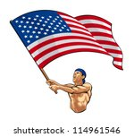 american fan waving flag | Shutterstock .eps vector #114961546