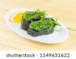 gunkan sushi with with hiashi... | Shutterstock . vector #1149631622