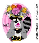 vector raccoon with wreath ... | Shutterstock .eps vector #1149638525