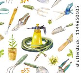 watercolor garden instruments.... | Shutterstock . vector #1149650105