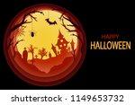 paper art halloween background...   Shutterstock .eps vector #1149653732
