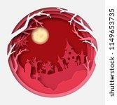 paper art halloween background...   Shutterstock .eps vector #1149653735