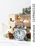 christmas card with clock and...   Shutterstock . vector #1149662132