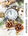 christmas card with clock and...   Shutterstock . vector #1149662138