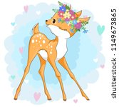 vector deer in a flower wreath... | Shutterstock .eps vector #1149673865