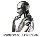 3d rendering ai robot think or... | Shutterstock . vector #1149678902