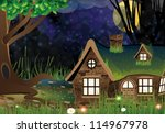 lonely house with lighted... | Shutterstock .eps vector #114967978