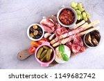 italian antipasti wine snacks... | Shutterstock . vector #1149682742