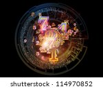 Digital Splash series. Creative arrangement of numbers, gradients and fractal elements to act as complimentary graphic for subject of mathematics, computers, science and modern technologies - stock photo
