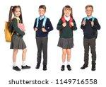 cute school children in uniform ... | Shutterstock . vector #1149716558