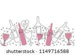 pattern with bottles  glasses...   Shutterstock .eps vector #1149716588