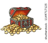 old chest with gold coins.... | Shutterstock .eps vector #1149717125
