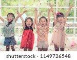 group of kids asian celebrate... | Shutterstock . vector #1149726548