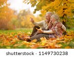 happy senior couple in autumn... | Shutterstock . vector #1149730238