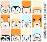 Stock vector set of cute animals vector 1149746558