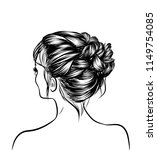 woman with stylish classic bun... | Shutterstock .eps vector #1149754085