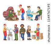 charity vector volunteer people ...   Shutterstock .eps vector #1149767195