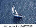 lonely yacht. the top view | Shutterstock . vector #114976762