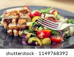 grilled chicken salad and... | Shutterstock . vector #1149768392