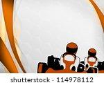 race poster  man and gokart... | Shutterstock . vector #114978112