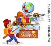 little boy doing school shopping | Shutterstock .eps vector #1149785942